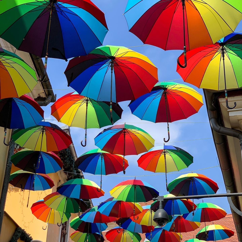 Ombrelli colorati per le vie di Szentendre